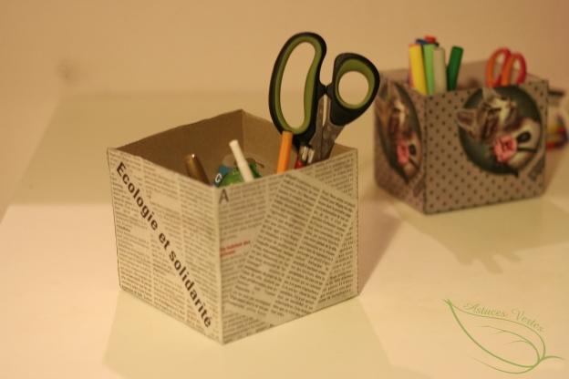 fabriquer un organiseur de bureau 100 r cup les astuces vertes de kory and cie. Black Bedroom Furniture Sets. Home Design Ideas