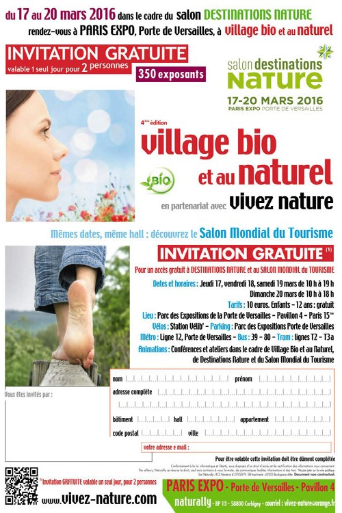 invitation entrée gratuite Village bio et naturel 2016 - salon écolo